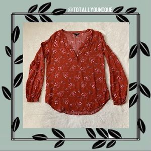 Express Floral Blouse Button Adjustable Sleeve